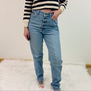 VINTAGE 80s High Waisted Light Wash Mom Jeans 7